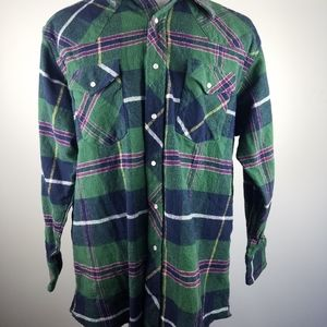 Green Plaid Pearl Snap Western Wrangler Flannel